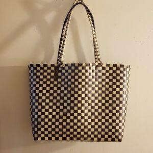 """NEW"""" Basket Bag"""" Hand-woven plastic handbag"""